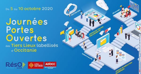 Bandeau des journées portes ouvertes des tiers lieux d'Occitanie d'octobre 2020